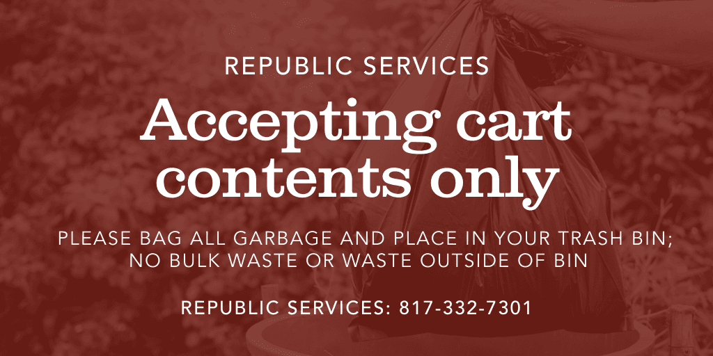 Republic Services accepting cart contents only; no bulk waste or garbage outside of bin